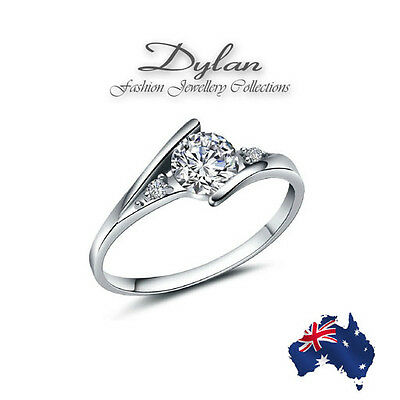 Solid 925 Silver Engagement Rings One Clear Crystal with side stones Wedding