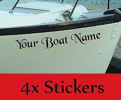 PERSONALISED BOAT NAME Decals / Stickers / Graphics x4
