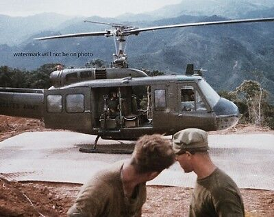 """Bell UH-1D Helicopter at Fire Support Base 8""""x 10"""" Vietnam War Photo 182"""