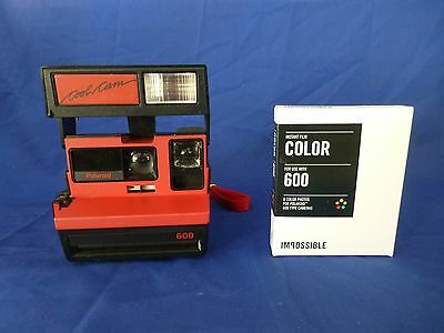 Film Tested Vintage Working Polaroid With New Film Rare Red Cool Cam 600 Camera