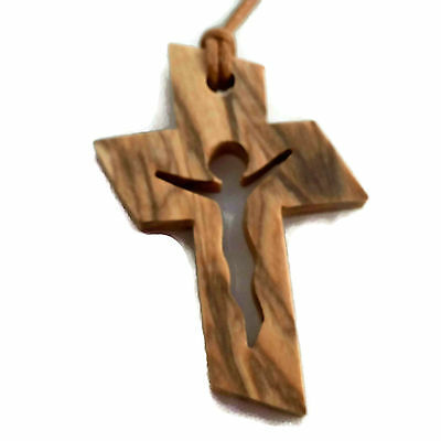 Olive Wood Jesus in Cross Cut Out Necklace Pendant Christian Handmade Holyland