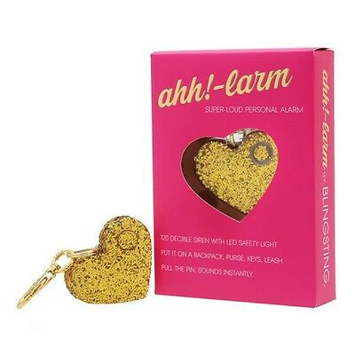 Ahh!-larm Gold Glitter Personal 120 Decibel Alarm Gold Keychain Clip LED Light