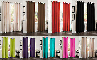 TWO BLACKOUT WINDOW ROOM CURTAINS 55x90 LINED HEAVY THICK PANEL ERIN BAMBOO