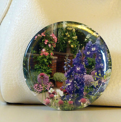 Flower Pocket Mirror With Organza Bag - Purple - Multi Make Up Handbag