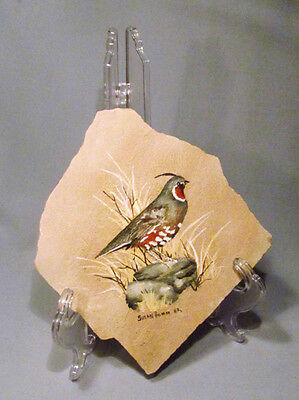 Hand Painted Artist Signed Quail Bird on Sandstone Slab Wall Table Plaque