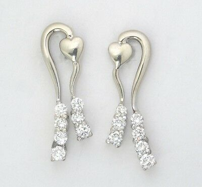 14k White Gold Round Diamond Ribbon with Heart Dangle Earrings .30ct