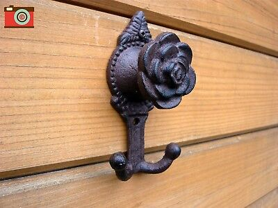 ROSE DOUBLE COAT HOOK... Cast Iron, Vintage Look, Wall Mounted. Antique Style