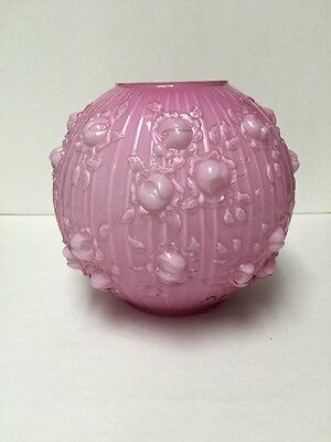 FeNton Globe Cased Glass Pink GWTW Parlor Lantern Gas Oil Electric Shade