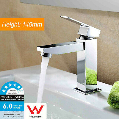 Luxury Flick Basin Mixer Bathroom Waterfall Vanity Sink Tap Brass Chrome Square