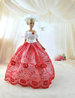 Fashion Beautiful Wedding Dress Party Clothes Gown With Veil For Barbie Doll