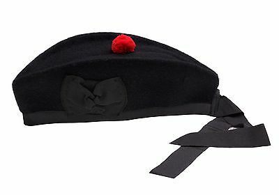 Glengarry Hat Plain Black -100% Pure Wool Classic Scottish Design SIZES 50-64CM