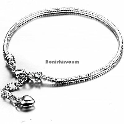"""Silver Tone Snake Chain Bracelet for Beads-Removable Lobster Claw 7 """" / 8"""""""