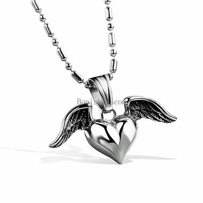 High Polished Stainless Steel Heart in Angle Wings Pendant Necklace Women's