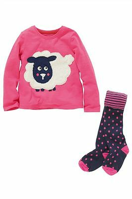 Bnwt Next Fantastic Pink  Cotton Sheep Top & Spotty Tights 2 Piece Set 3-4-5 yrs