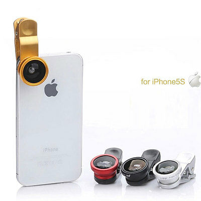 Universal 3 In 1 Clip-on Fish Eye Macro Wide Angle Smart Phone Lens Camera kit