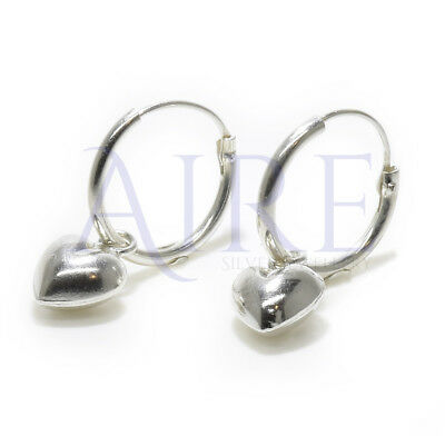 925 Sterling Silver Stunning Sleeper Style Hoop Earrings with Polished  Heart