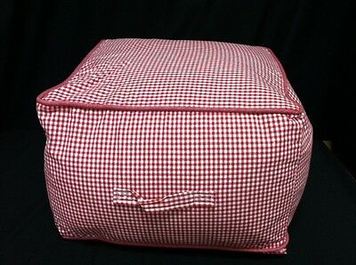 Pottery Barn Kids Teen Beanbag table square Chair CUBE red gingham w/ slipcover
