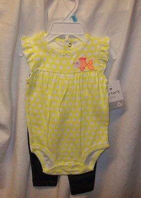 Carters Girls Baby 2 Pc Pants Set,yellow One Pc W Jean Like Stretchy Pants Nwt