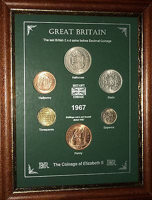 FRAMED 1967 COIN YEAR SET (RETRO 50th BIRTHDAY PRESENT WEDDING ANNIVERSARY GIFT)