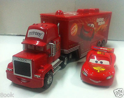 Disney Pixar Cars No.95 Mack Racer's Truck & Lightning McQueen 1:55 Loose New