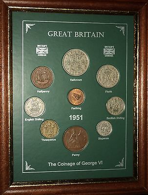 FRAMED 1951 COIN BIRTH YEAR GIFT SET VINTAGE 66th BIRTHDAY PRESENT (Rare Penny)