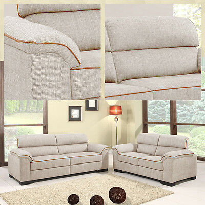 EALING 3 + 2 Seater Light Brown / Cream Beige Fabric Sofas with Brown Piping
