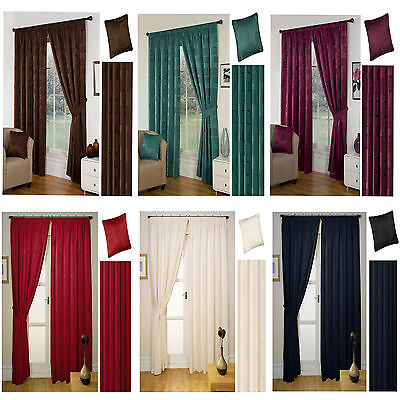 CLEARANCE - Milano Lined Pencil Pleat/Tape Top Readymade Curtains Inc Tiebacks