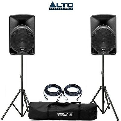 Alto TX8 Active Powered PA DJ Speakers PAIR with Tripod Stands & Carry Bag