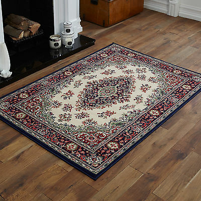 Large Extra Large Medium Small Traditional Navy Blue Cream Best Cost Rugs