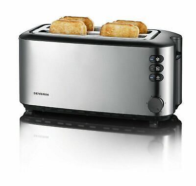 Severin Automatic Long Slot Toaster 4 Slice 1400W Brushed Stainless Steel AT2509