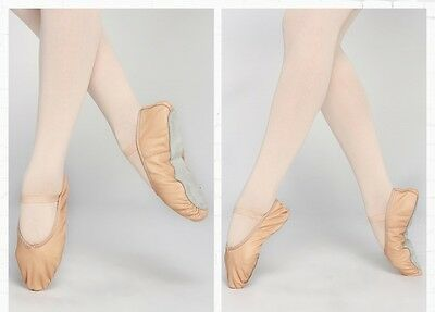 Cow Leather Ballet Shoes FULL SOLE Excellent quality Ballet Pink single elastic