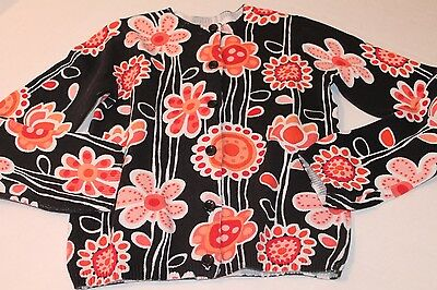 Gymboree Girl Size 5-6 Purrfectly Fabulous Black & Pink Floral Cardigan Sweater