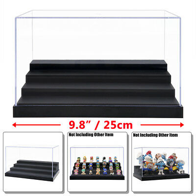 """Clear UV Acrylic/Plastic Display Box Case Dustproof Tray Protection 4Step 9.8""""L"""