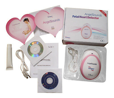 Baby Fetal Doppler Angel Sound Heart Monitor Portable Angelsounds Detector gel