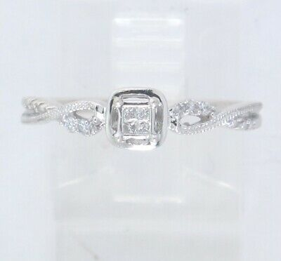 Sterling Silver Princess & Round Diamond Cluster Engagement Ring .10ct