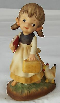 Napco Figurine Girl with Lunchbox and Book Porcelain Napcoware Collectable