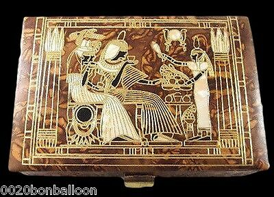 "Jewelry  6.4""  Box LG Trinket Egyptian  Genuine Leather Horus Osiris Pharaoh 221"