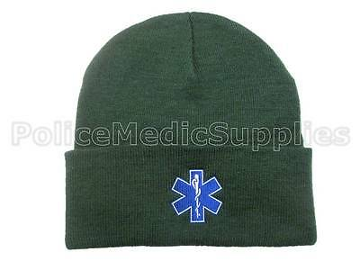 Star of Life Green Woolly Hat - First Responder Ambulance Paramedic St Johns