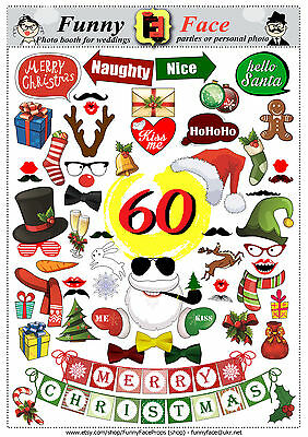 60 Christmas New Year Photo Booth Props - DIY - Printable - PDF Party Props