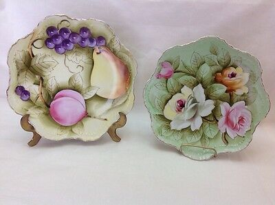 "2  Lefton China Hand painted 8"" Plate Fruit & Flower Design w Gold Trim"