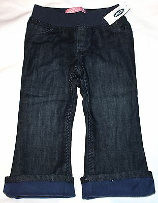 Old Navy Dark Wash Pull On Fleece Lined Jeans Pants Toddler Girls 2T 3T 4T NWT
