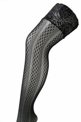 Black Patterned Lace Top Thigh High Fishnet Stocking Non Slip Stay Ups #04