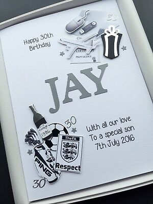 PERSONALISED 30th BIRTHDAY CARD FOR MEN Handmade Gift Boxed You Choose Design