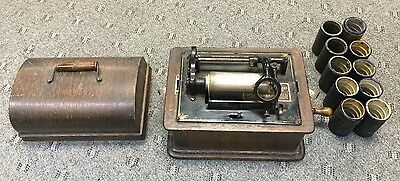 AS FOUND EDISON CYLINDER PHONOGRAPH STANDARD MODEL B & 10 Cylinder Records