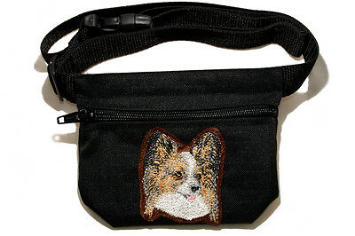 Embroidered Dog treat pouch/bag. Breed - Papillon (Continental Toy Spaniel)