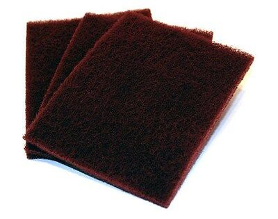 "6"" x 9"" Coarse-Grade Maroon Scuff Pads 3-PACK SCRACH PAD CLEANING WOOD METAL"