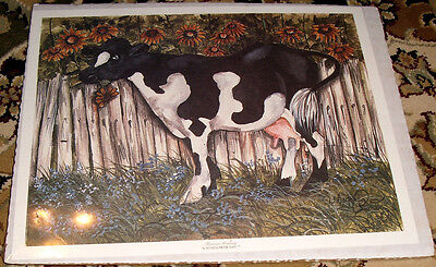Thereasa Ramsey Sunflower Day Cow Print Country Folk Art Cute