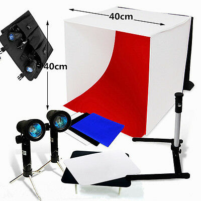 "16"" Photo Studio Photography Lighting Box Tent Backdrop Kit Cube Soft Lighting"
