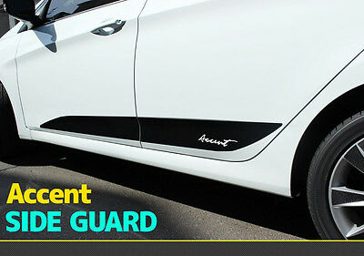3D Black Door Side Guard Decals Stickers for Hyundai 2011+ Accent / Solaris
