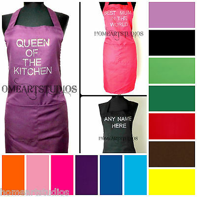 Personalised Diamante Custom Printed Kitchen Chefs Apron Overalls Tabard Cooking